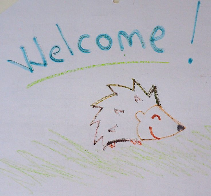 """Dessin de hérisson souriant sous la mention """"welcome !"""""""