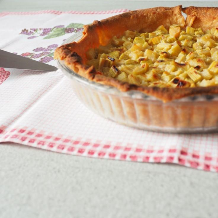 Tarte à la rhubarbe dans son plat sur une nappe quadrillée.