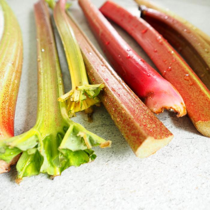 Tiges de rhubarbe fraichement rincées
